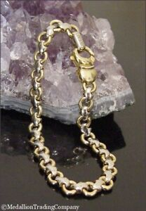 Chimento 18K Yellow White Gold 6mm Belcher Rolo Cable Link Reversible Bracelet