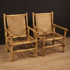 Pair of Armchairs by Design Chairs for Living Room in Wood Bamboo Modern 900