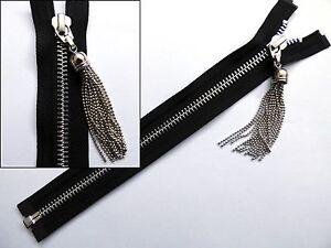 Zip, Zipper, Chain Tassel Puller, Open End, Separating, Metal, YKK, Black
