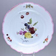 Meissen um 1760: große Platte, Früchte Malerei, Schale, Teller, rosa Rand, plate