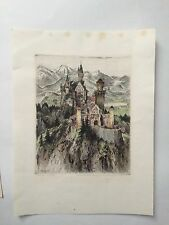 "Paul Geissler Original Sketch/ Etching of Neuschwantein Castle ""BEST OFFERS"""