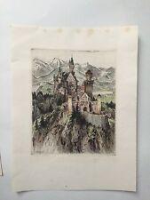 "Paul Geissler Original Sketch/ Etching of Neuschwantein Castle ""BEST OFFERS"""