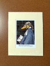 Simon Drew Print Old Lawyer Lose Appeals Mounted Matted Signed Entertaining Art