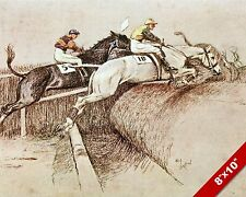 HORSES JUMPING HORSE JOCKEY RACE RACING ART PAINTING REAL CANVAS PRINT
