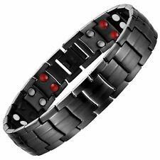 Gun Metal Titanium Magnetic Bracelet Strong Magnets | 4in1 Bio Energy Elements