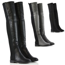 Womens Stretch Leg Over The Knee Flat Heel Ladies Thigh High Winter Boots 3-8