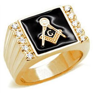 Free Mason Ring - Gold Square CZ Freemasonry Style - Plated Gold Masonic Rings