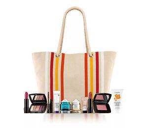 Lancome Day Cream,Lipstick,Blush,Palette,Mascara,Mousse & More In Tote Gift Set