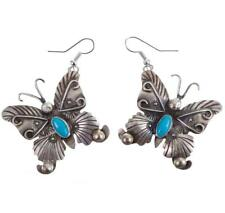 """Navajo Turquoise Earrings Sterling Silver """"Dancing Butterflys"""" Old Pawn Style"""