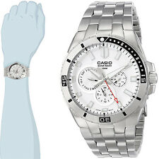 Casio MTD-1060D-7A Mens 100M Diver Watch White Dial Stainless Steel Band New