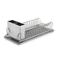 Stainless Steel Sink Kitchen Dish Plate Rack Utensil Holder Drainer Drying New .