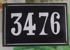 Large old black French house number 3476 door gate wall plate enamel metal sign