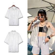 Sonnenschutz Shirt PVC Anti Sonne Bluse Transparent Dünn Locker Weiß Sommer Dame