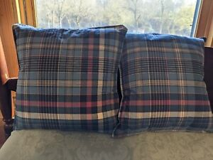 Nautica Blue Plaid Madras  Throw Pillows New Two