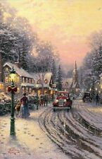 Village Christmas, Thomas Kinkade Christmas Card w/ Message, Snow - Not Postcard