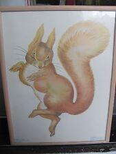 Vintage Beatrix Potter print beige peach wood frame Squirrel Nutkin