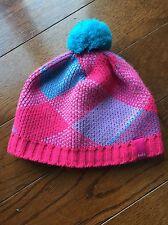 Girls Bula Pink And Blue Pom Pom Snow Hat Girls Size S 4 6 8