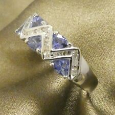 Vintage 14K White Gold Diamond Tanzanite Ring