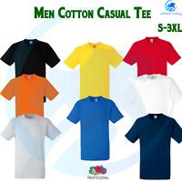 FRUIT OF THE LOOM Men's Heavy Classic Cotton Tee Plain Rib Crew Neck T-Shirt Top