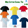 FRUIT OF THE LOOM Men's Heavy Classic Cotton Tee Plain Rib Crew Neck T-Shirt Top