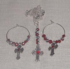 3 Piece Red Rhinestone Czech Crystals Cross Pendant Necklace & Earrings Set