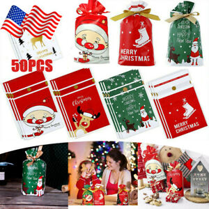 50 Pcs Christmas Candy Treat Bags Drawstring Goodies Gift Bag for Party Wedding
