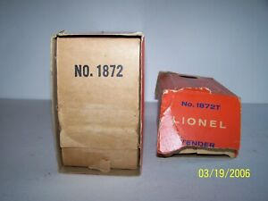 LOT OF 2 ORIGINAL LIONEL No. 1872 GENERAL AND No. 1872T GENERAL TENDER BOXES
