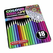 Premium COLOUR THERAPY COLOURING PENCILS IN TIN 18Pc CASE Artists Drawing UK