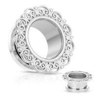 PAIR Heart Filigree Top Screw Fit Tunnels Ear Plugs Gauges Earlets Body Jewelry