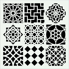 MOROCCAN TILES STENCIL 9 ASSORTED SHAPES DETAILED TEMPLATE CRAFT ART NEW BY TCW