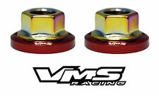 4 VMS RACING STRUT TOWER DRESS UP RED WASHERS & NEOCHROME NUTS FOR NISSAN