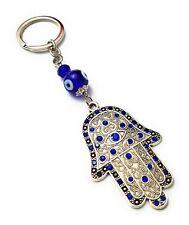 Hamsa Blue Evil Eye Hamsa Hand of Fatima Keychain Blessing shield Good Luck