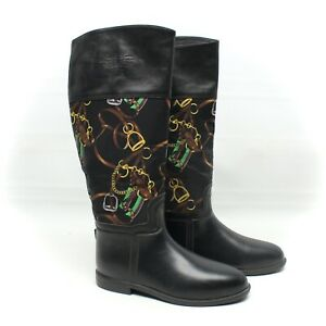 Ralph Lauren Womens Wellington Boots 8 / 8.5 Black Rubber Leather Harness Print