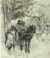 Eau-forte de Edmond MORIN, Averse sur le boulevard, calèche, cheval, Paris