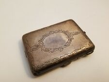 ANTIQUE / STERLING SILVER Metal Money Holder Coin Card Case Pocket Wallet Purse