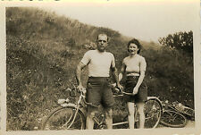 PHOTO ANCIENNE - VINTAGE SNAPSHOT - CYCLISTE VÉLO TANDEM COUPLE - BIKE BICYCLE