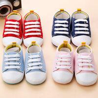 Infant Newborn Baby Boy Girl Crib Shoes Canvas Soft Sole Pram Anti-slip Sneakers