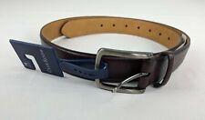 Club Room Mens Belt Burgundy Faux Leather sz M 34-36 NWT $39.50