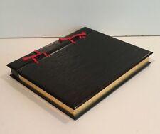 vtg Japanese? BOOK-Shaped BOX Modern black lacquer & gold leaf faux Sugi Ban
