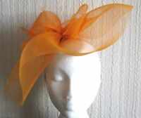 orange crin fascinator headband headpiece wedding party piece race ascot bridal
