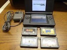 Nintendo DS Lite Handheld Game System Black USG-001 with games & charger