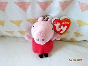 46131 Peppa Pepper Pig Soft Plush Beanie Keychain Toy by TY 13cm 3 + Years