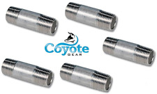 """5 Pack Lot 1/4"""" NPT x 2"""" Long 304 Stainless Pipe Thread Nipple Coyote Gear SS"""