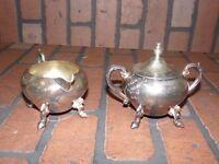 Vintage Silverplate 2 piece Tea Set Sheridan Silver on Copper Pot Sugar