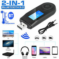 USB Wireless Bluetooth 5.0 Transmitter Receiver 2in1 Audio Adapter 3.5mm Aux Car