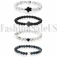 4pcs Handmade Black Stone Matte Buddha Men's Women's Yoga Beaded Energy Bracelet