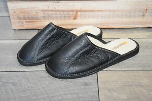 Bosaco Premium Leather House sheepskin Scuff Slippers Men's Comfy Light Weight