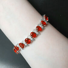 """Oval Red Ruby Cubic Zirconia CZ White Gold Plated Tennis Bracelet Gift 7.25"""""""