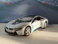 NEW BOYS TOYS PERSONALISED BMW i8 - SILVER 5' DIECAST MODEL CAR BIRTHDAY GIFT