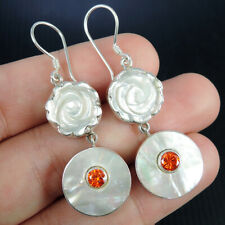 MOTHER OF PEARL & CUBIC ZIRCONIA 925 Sterling Silver Earrings